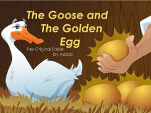 The Goose With the Golden Eggs a short story by Aesop to learn English for young children with flashcards and podcast