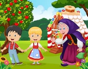 Hansel and Gretel Fairy Tale with flashcards at LELB Society with podcast to learn English